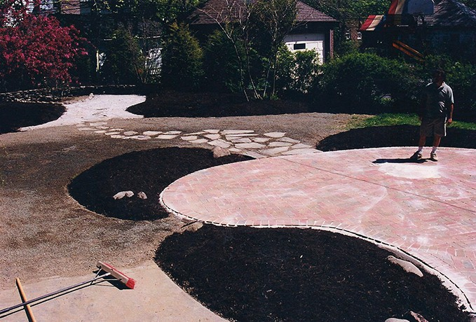 Patio and Walkways: Non Tumbled Traditional Red Brick Patio