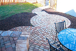 Patio and Walkways: Tumbled Paver Walkway With Courtyard